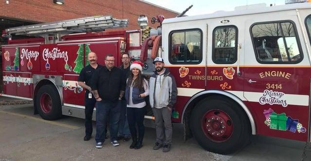 Christmas Fire Truck Graphics at 2017 TFD Santa Run